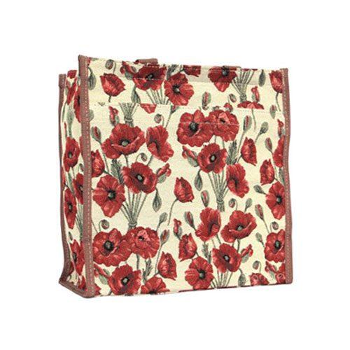 Signare Tapestry material bag poppy design