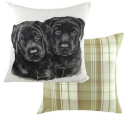 Black Labrador Puppy Cushion