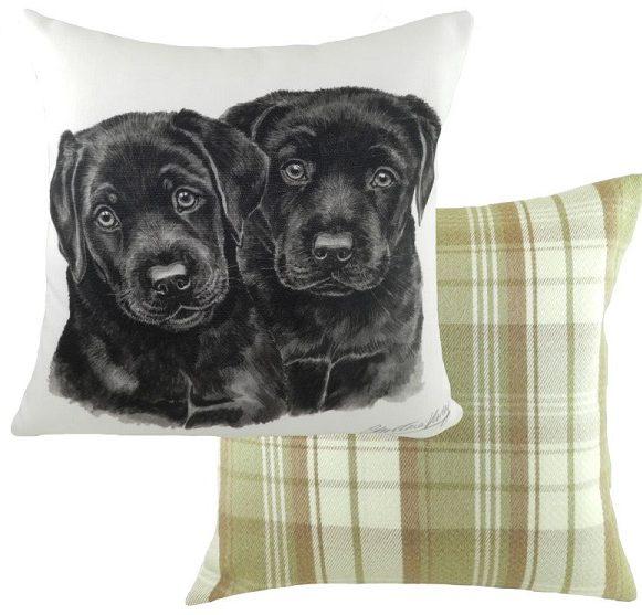 Black Labrador Puppy Cushion