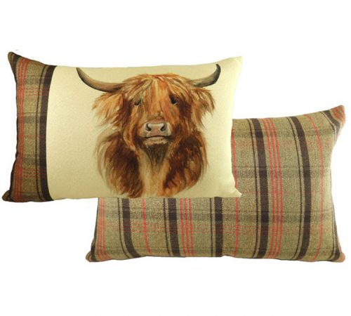 highland cow cushion from Evans lichfield