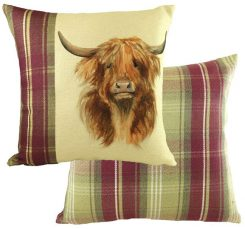 highland cow heather check design Evans lichfield