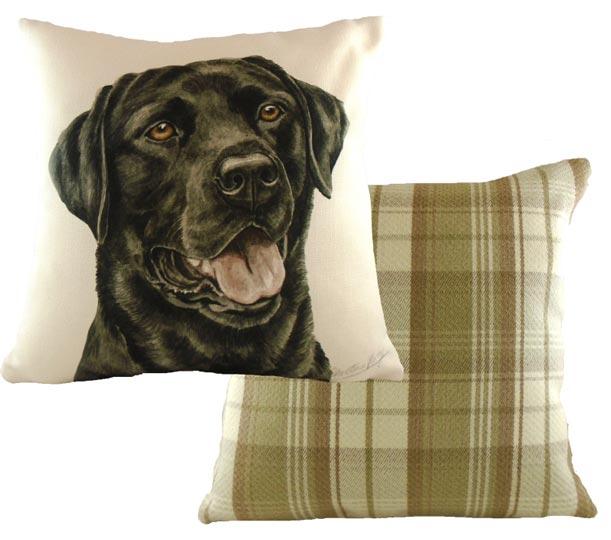 Black Labrador Dog Picture On Cushion
