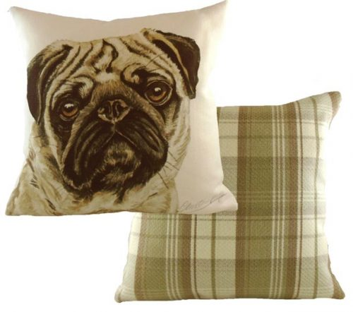 Pug Dog cushion from Waggy Dogs