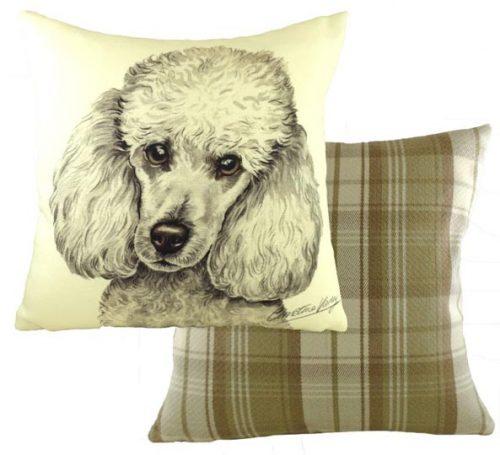 white poodle cushion