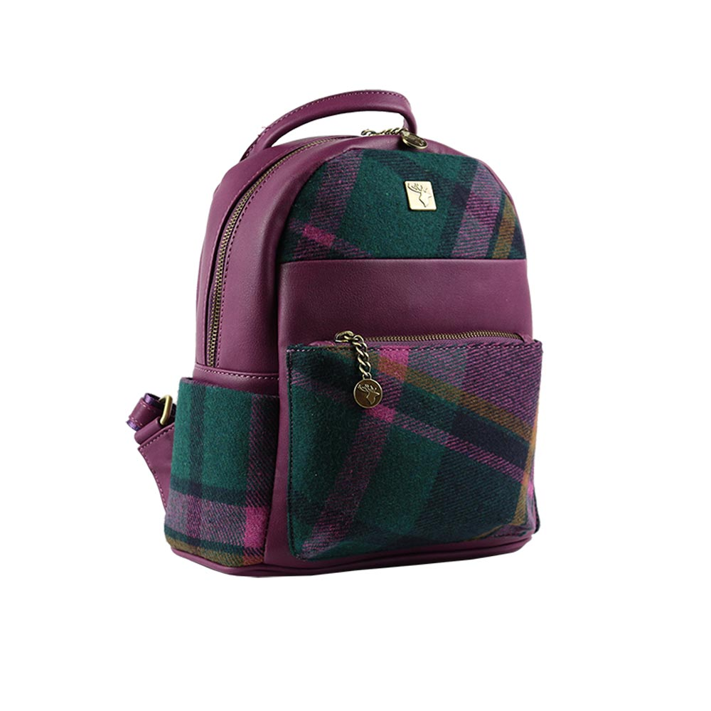 house-of-tweed-backpack-small-purple-check-side