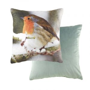 Robin on a branch cushion