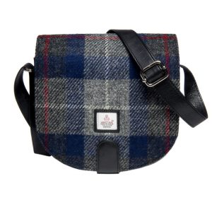 Harris tweed blue check cross body bag