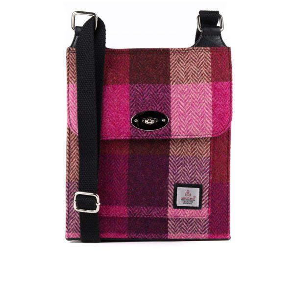 Harris tweed pink squares satchel bag
